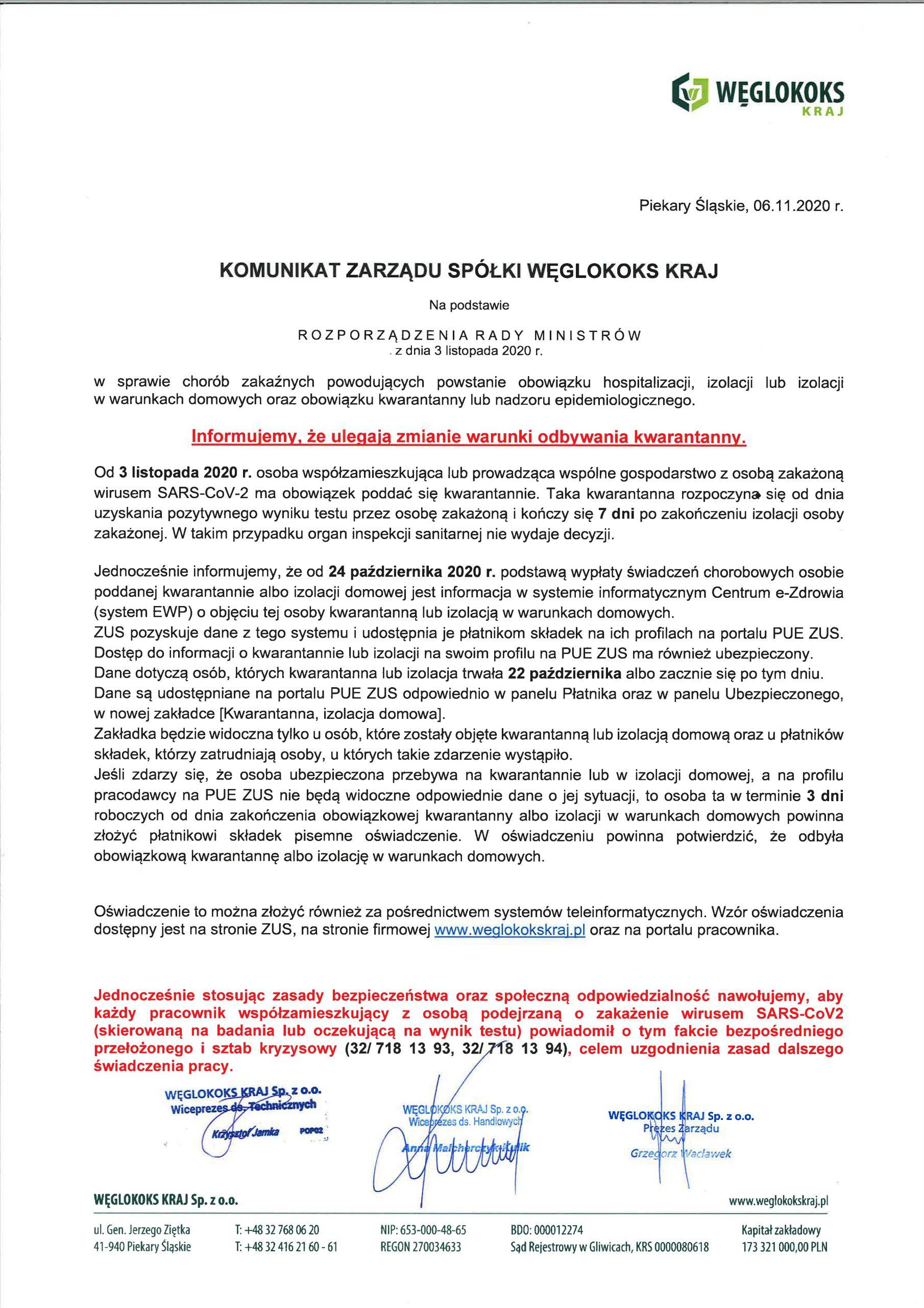 Komunikat Zarządu Spółki z dnia 06.11.2020